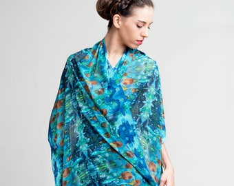 Leaf shawl, Chiffon cover up, Soft shawl, Elegant shawl, Long shawl, Printed accessory, Designer Wrap shawl, Nature print, Gift for her