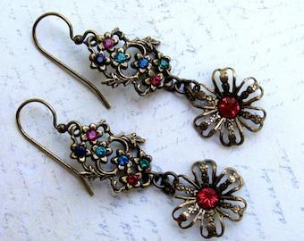 Rhinestone Earrings, Swarovski Earrings, Flower Earrings, Dangle Earrings, Downton Abbey, Multi Stone Earrings, Pink Earring, Flower Earring