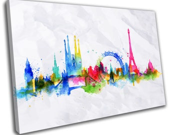Watercolour Landmarks Skyline Cityscape Canvas Print Home Decor- Abstract Wall Art - Modern Prints - Ready To Hang