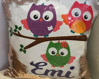 Sequin reversible owl cushion personalised with name, glitter owl cushion, colour changing cushion, reversible cushion