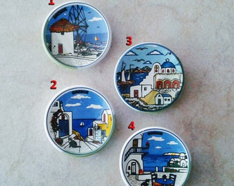 Greek Islands Ceramic Magnets (refrigerator magnets, kitchen magnets, fridge round magnets, magnets set, magnets for boards)