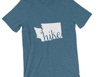 Washington Shirt, Hike Washington, T-shirt, State Shirt, WA Shirt, WA State T-Shirt, Red, Heather Grey, Green, Grey, Navy, Hiking, Hike