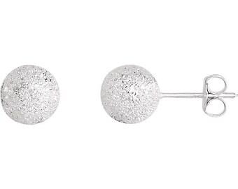 Sterling Silver 4mm Stardust Ball Earrings