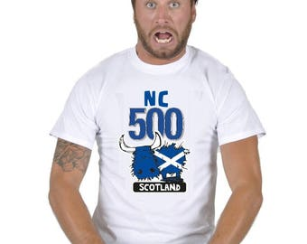 Scotland North 500 Coast- Adults Tshirt NC 500 SCOTLAND - Wear with pride on your Adventure - Highland Coo