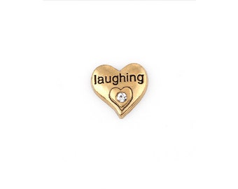 Laughing Floating Charms for Living Lockets, Glass Memory Lockets,Love Heart with 1 Rhinestones