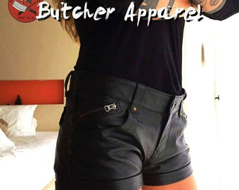 Women's leather shorts, hot pants, festival shorts, hot shorts,  steampunk, psytrance goa pants