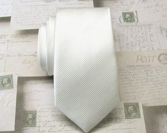 Mens Ties. Necktie Ivory Off White Stripes Men's Skinny Tie
