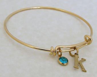 Birthstone and Initial Bangle .. gold bangle, charm bracelet