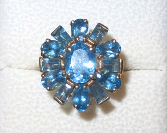 Absolutely Stunning Blue Topaz 10K Gold Ring Size 7