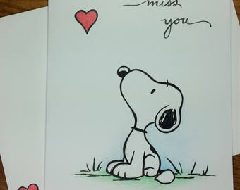 """Hand Drawn Snoopy Miss You card 5"""" x 7"""" with Embellished Envelope - Free Shipping"""