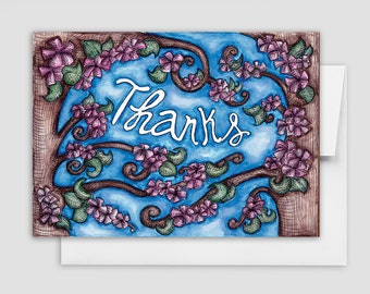 FLORAL THANK YOU Card - Thanks Greeting Cards - Cherry Blossom Thank You Card
