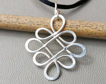 Celtic Knot Pendant, Looping Crossed Celtic Knot Necklace Sterling Silver Celtic Necklace, Celtic Jewelry Gift for Women, Irish Jewelry