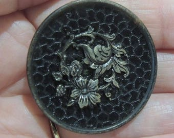Large Metal Picture Button - Raised Brass Floral Vine - 37mm Button, 1 1/2 Inches - Rare, Collectible Button