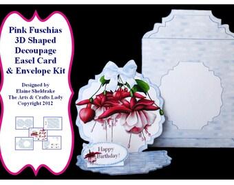 Pink Fuschia 3D Easel Card Kit & Envelope Designed By Elaine Sheldrake