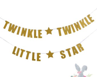 Twinkle Twinkle Little Star Banner.  By Paper Rabbit. Twinkle Twinkle little Star Baby Shower. Twinkle Twinkle Little Star Birthday