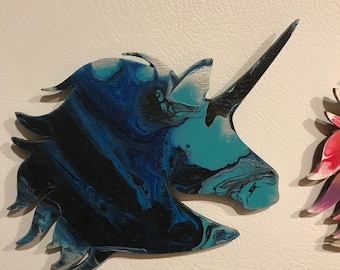 Blue and black unicorn magnet