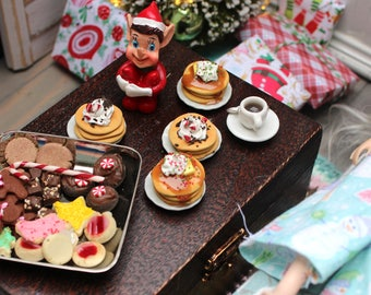 Miniature Christmas Pancakes for Blythe Barbie Monster High Maple or Chocolate Chip Peppermint