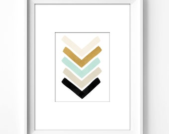 wall art printable, art print, wall decor, office decor, home decor, printable art, graphic art, instant download, watercolor, chevron
