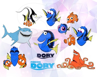 Finding Dory Nemo Hank  Bruce Gill Marlin Layered SVG DXF Cut File Disney Cartoon Party Cricut Silhouette Studio Cameo Stencil Scrapbooking