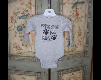 My Big Brother Has Paws Onesie - 4 Colors