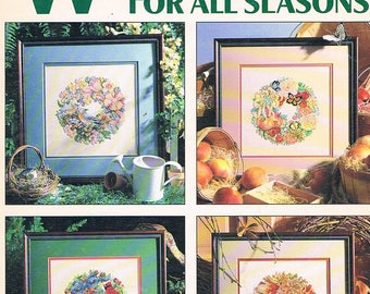 Leisure Arts Leaflet 2145 Wreaths for All Seasons Cross Stitch by Linda Gillum (1991)