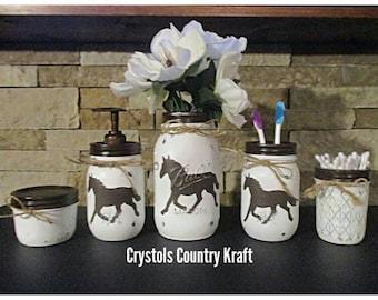 Horse bathroom decor, horse soap jar, horse toothbrush holder, Horse vase, horse ranch decor, country, distressed mason jar, rustic decor,