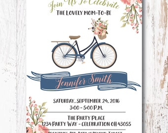 Floral baby shower invitation navy blush invitation floral baby shower invitation bicycle invitation for your baby shower filmwisefo