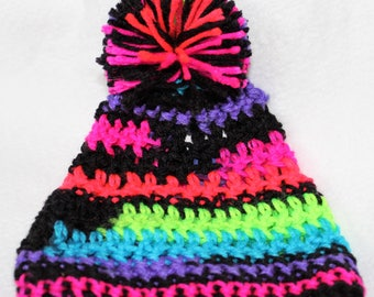 Baby crochet beanie hat with pompom  (TANZANITE)