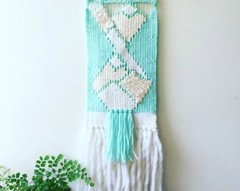 Woven wall hanging in mint green & cream/ weaving/tapestry/ home decor/ modern wall art/ mountain range/ boho/ nursery art/ baby gift