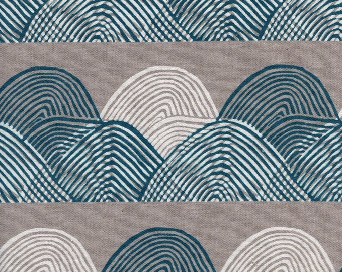 PRESALE: Headlands in Midnight (CANVAS white pigment fabric) from Imagined Landscapes by Jen Hewett for Cotton + Steel