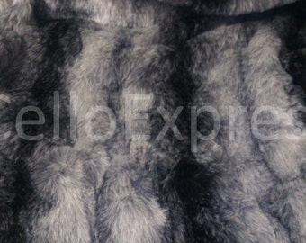 Black Striped Faux Fake Wolf Fur - Choice of Lengths Available - Animal Faux Fake Animal Fur Fabric 25mm Pile - DIY Home Crafts
