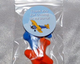 Airplane Party Favor Crayons, Airplane Party Favors, Recycled Crayons 40 Airplane Crayons and 20 Airplane Stickers, Party Set for 20 Kids