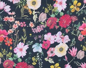 Cotton and linen floral print