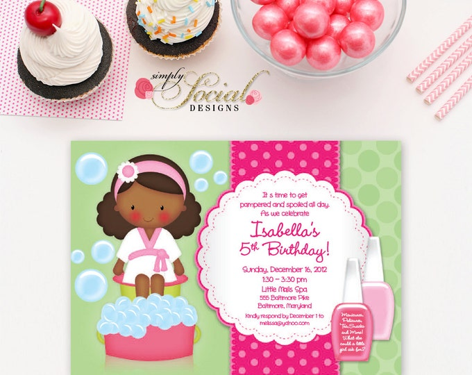 Kid's Spa Birthday Party Invitation Manicure Pedicure Nail Polish Printable African American
