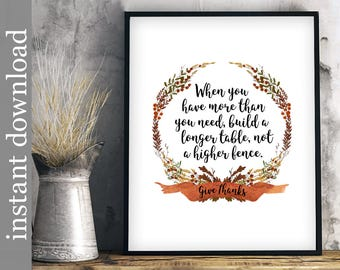 Dining Room Art, Printable Quote, Build A Longer Table, Kitchen art, Fall colors, Fall decor, Fall wall art, Thanksgiving print, give thanks