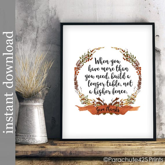 Dining Room Art Printable Quote Build A Longer Table Kitchen Fall Colors Decor Wall Thanksgiving Print Give Thanks