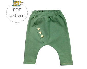 Baby harem pants pattern, sewing pattern for child pants, PDF sewing pattern, kids pants sewing