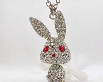 Crystal Bunny Jewelry Rabbit Pendant Necklace Puttin' on the Glitz - Rabbit Necklace - Bunny Pendant - Bunny Rabbit Jewelry - Pet Rabbit