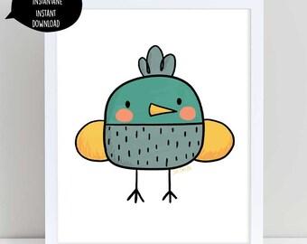 cute bird, bird illustration, bird wall art, bird nursery art, bird doodle, bird wall decor, cute bird art, cute bird illustration,