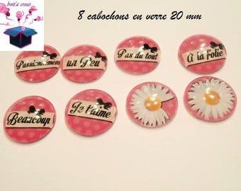 I love you a little 8 glass cabochons 20mm theme...