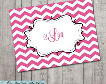 Pink and White Chevron Note Cards Personalized Folded Notecards  --  Pesonalized Stationary