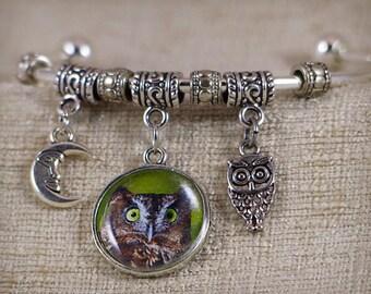 "Photo charm bracelet– Screech Owl – original digital photo charm – 2.5"" diameter bracelet"
