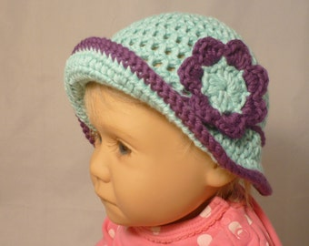 Crochet Baby Hat, Light blue with purple accents and flower