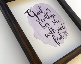 God Is With Her She Will Not Fail Proverbs 46:5 Watercolor Art Print for Nursery Decor Wall Art Print on Paper, Wood Framed or Canvas Wrap