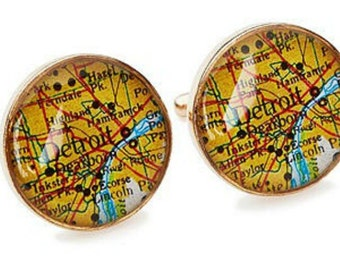 Detroit Map Cufflinks Solid Golden Bronze Heirloom Cast One Piece Antique Atlas
