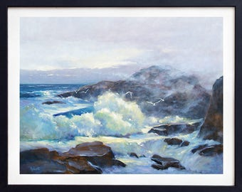 Oil Painting Seascape, Ocean Waves, Seascape Print, Seascape Painting, Beach painting, Giclee, Art print, Beach print, Applegate