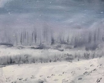 Riverside Walk in the Snow. Signed Ltd Edition Fine Art Print by Rob Parkinson.