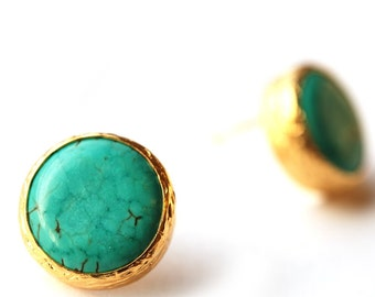 Turquoise Stud Earrings in 18K gold Vermeil over Sterling Silver - small turquoise earrings - blue stud earrings - turquoise post - gift