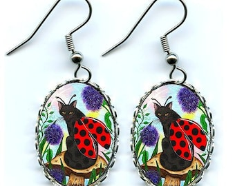 Ladybug Cat Earrings Fairy Cat Fantasy Cat Art Cameo Earrings 25x18mm Gift for Cat Lovers Jewelry