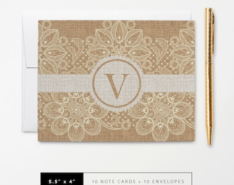Flat or Folded Note Cards // Set of 10 // Burlap and Lace with Monogram Initial // Personalized Stationery